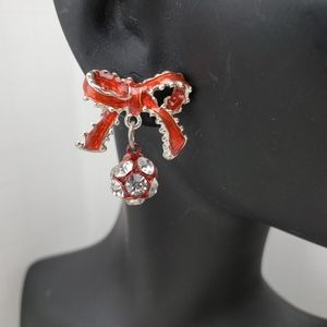Christmas Earrings Red Bow w/ Dangling Ornament